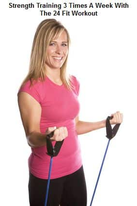 Woman working out with band